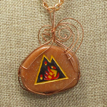 Load image into Gallery viewer, Sabra Worry Stone Cabochon Pendant Necklace back relevant view