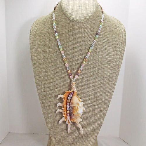 Zahra Shell Beaded Pendant Necklace relevant view