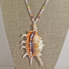 Load image into Gallery viewer, Zahra Shell Beaded Pendant Necklace close view