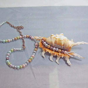 Zahra Shell Beaded Pendant Necklace flat view