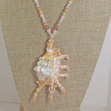 Load image into Gallery viewer, Zahra Shell Beaded Pendant Necklace back view