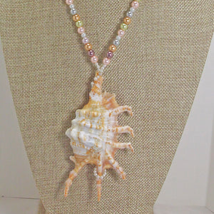 Zahra Shell Beaded Pendant Necklace back view