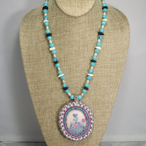 Nafisah Bead Embroidery Cameo Pendant Necklace front relevant view