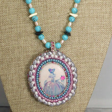 Load image into Gallery viewer, Nafisah Bead Embroidery Cameo Pendant Necklace front close view