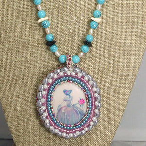 Nafisah Bead Embroidery Cameo Pendant Necklace front close view