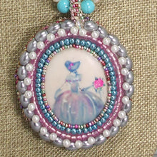 Load image into Gallery viewer, Nafisah Bead Embroidery Cameo Pendant Necklace blow up view
