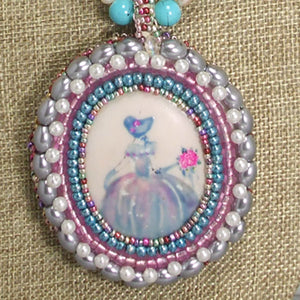 Nafisah Bead Embroidery Cameo Pendant Necklace blow up view