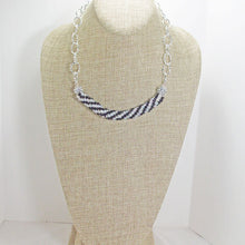 Load image into Gallery viewer, Caliope Black and White Bead Crochet Necklace relevant view