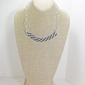 Caliope Black and White Bead Crochet Necklace relevant view