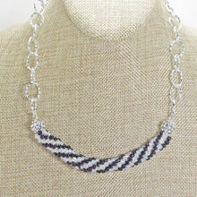 Load image into Gallery viewer, Caliope Black and White Bead Crochet Necklace close view
