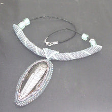 Load image into Gallery viewer, Orthoceras Fossil Bead Embroidery Pendant Necklace flat view