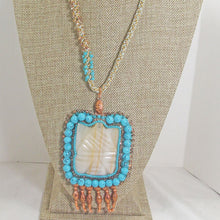 Load image into Gallery viewer, Echidna Bead Embroidery Pendant Necklace front close view