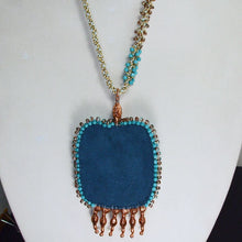 Load image into Gallery viewer, Echidna Bead Embroidery Pendant Necklace back close view