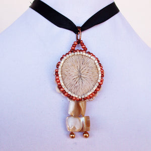 Esterina Coral Beaded Pendant Necklace front close view