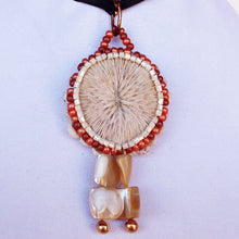 Load image into Gallery viewer, Esterina Coral Beaded Pendant Necklace front blow up view
