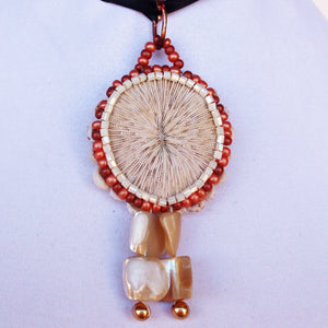 Esterina Coral Beaded Pendant Necklace front blow up view