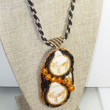 Load image into Gallery viewer, Valerie Bead Embroidery Pendant Necklace front close view