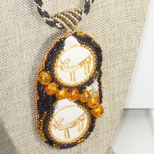 Load image into Gallery viewer, Valerie Bead Embroidery Pendant Necklace front blow up view