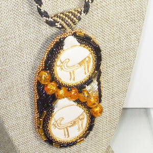 Valerie Bead Embroidery Pendant Necklace front blow up view