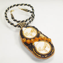 Load image into Gallery viewer, Valerie Bead Embroidery Pendant Necklace front flat view