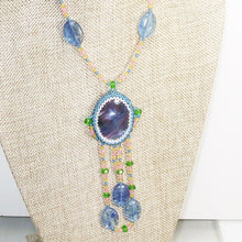 Load image into Gallery viewer, Wahalla Bead Embroidery Pendant Necklace front close view