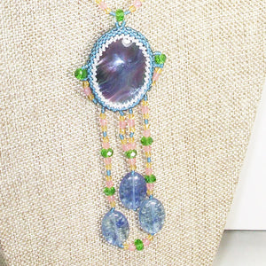 Wahalla Bead Embroidery Pendant Necklace front blow up view