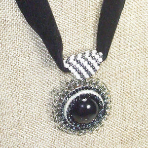 Xela Beaded Cabochon Pendant Necklace front close view