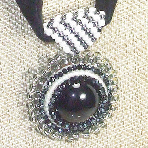 Xela Beaded Cabochon Pendant Necklace front blow up view
