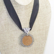 Load image into Gallery viewer, Xela Beaded Cabochon Pendant Necklace back close view