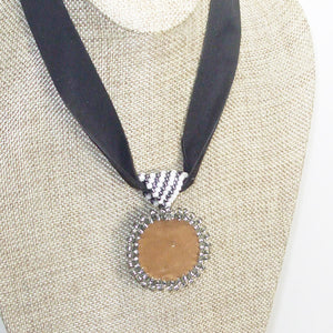 Xela Beaded Cabochon Pendant Necklace back close view