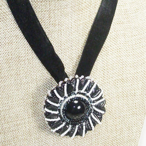 Zawati Cabochon Beaded Pendant Necklace front close view