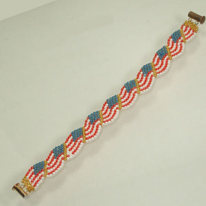 Lucinda Stars and Strips Peyote Bracelet flat view