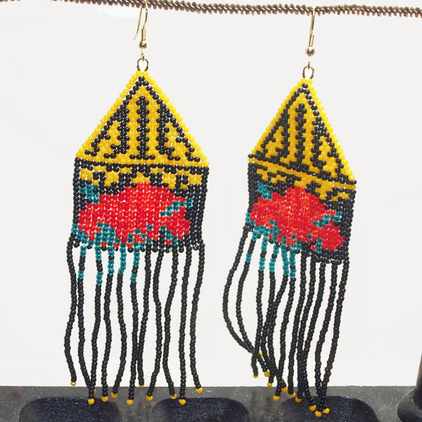 Bella Indian Fringe Rose Earrings front view