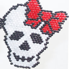 Load image into Gallery viewer, Bonnie Brick Stitch Halloween Earrings girl close view