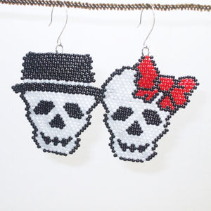 Bonnie Brick Stitch Halloween Earrings pair close view