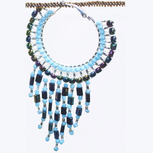 Calloipe Hoop Fringe Beaded Earrings single view