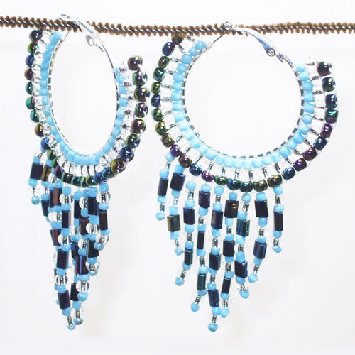 Calloipe Hoop Fringe Beaded Earrings relevant view