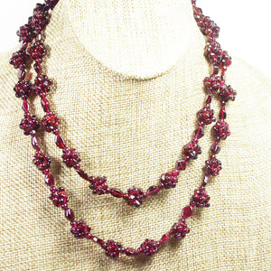 Nadira Rhodolite Garnet Necklace pin up view