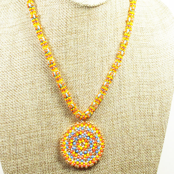 Daere Beaded Mandala Rope Necklace front bug eye view
