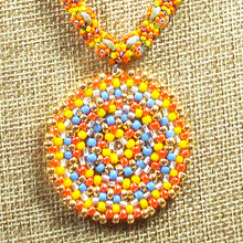 Load image into Gallery viewer, Daere Beaded Mandala Rope Necklace front close view