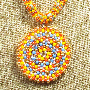 Daere Beaded Mandala Rope Necklace front close view