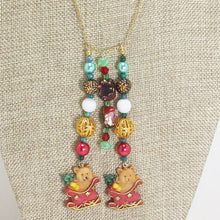 Load image into Gallery viewer, Earwyn Christmas Single Strand Dangle Necklace close up view front