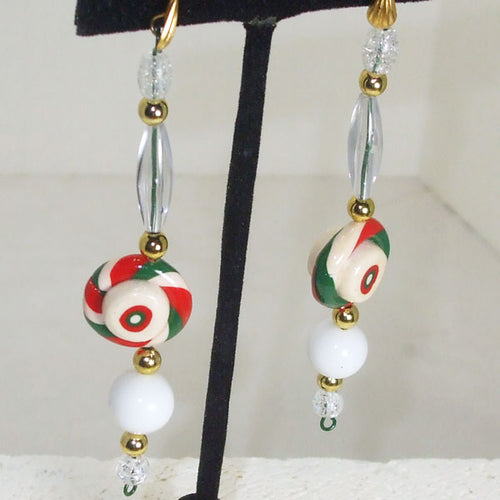 Fallon Christmas Candy Dangle Earrings closeup view