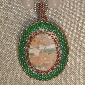 Jewelry by Sande Gene Bead Embroidery Cabochon Necklace