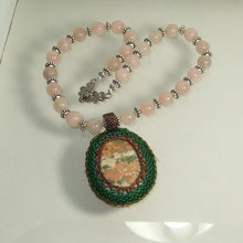 Load image into Gallery viewer, Jewelry by Sande Gene Bead Embroidery Cabochon Necklace