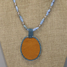 Load image into Gallery viewer, Qitarah Bead Embroidery Cabochon Pendant Necklace back view