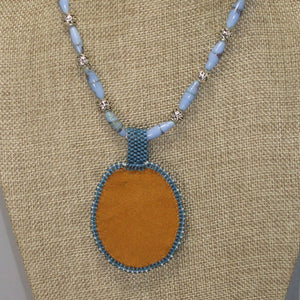 Qitarah Bead Embroidery Cabochon Pendant Necklace back view