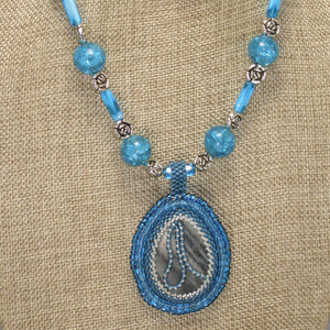 Rachel Bead Embroidery Cabochon Pendant Necklace front blow up view