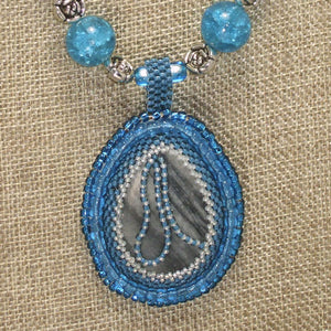 Rachel Bead Embroidery Cabochon Pendant Necklace front pin up view
