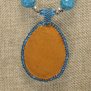 Rachel Bead Embroidery Cabochon Pendant Necklace back view